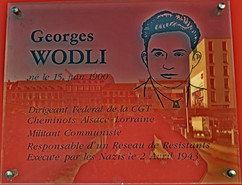 Commémoration de l'assassinat de Georges Wodli cheminot et communiste, par les nazis