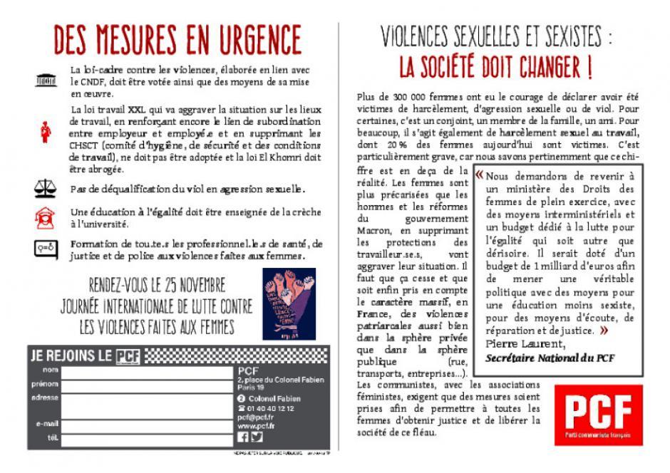 25 novembre - violences sexuelles et sexistes, la société doit changer