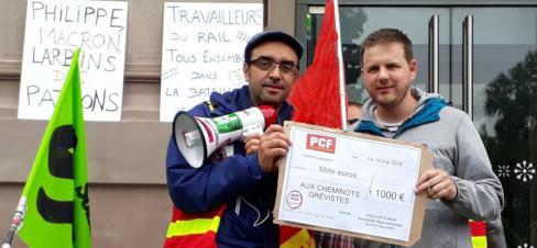 Le PCF 67 verse 1000€ à la caisse de grève des cheminots !
